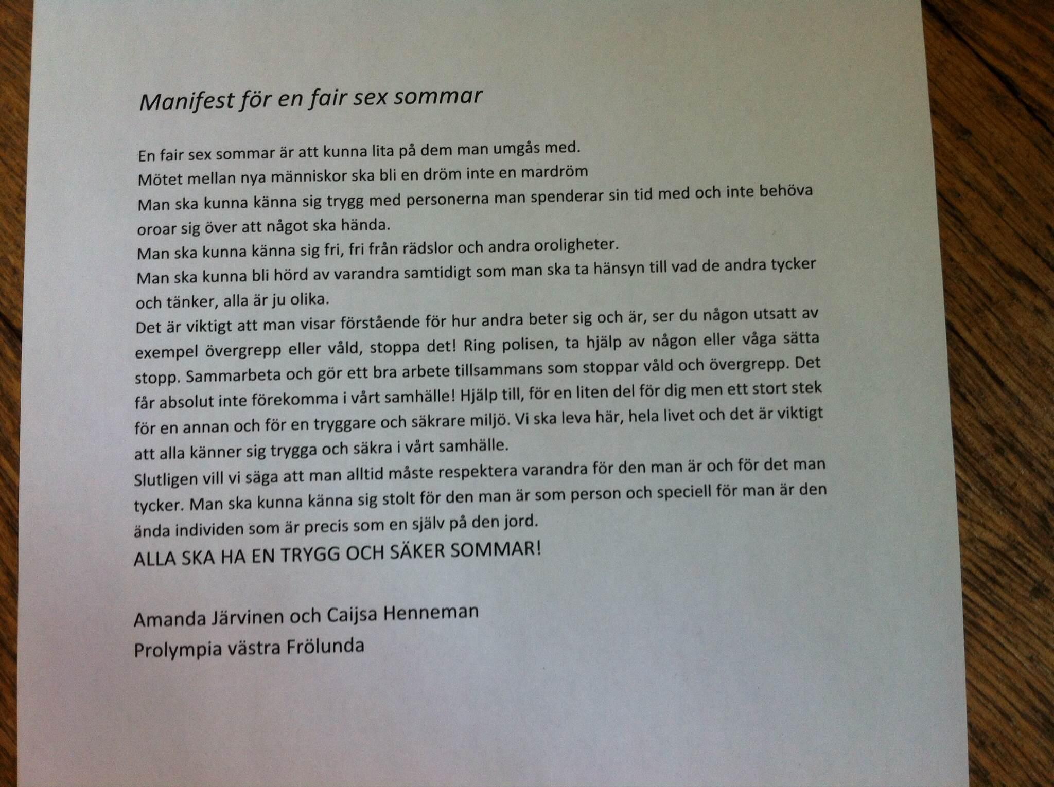 Fair SEx sommar manifest 6